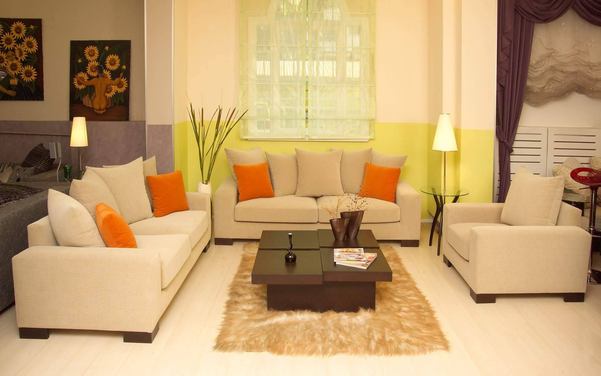 Cream Fabric Sofa With Orange Cushion Addeddark Brown Wooden for Cream Colored Sofas (Image 12 of 30)