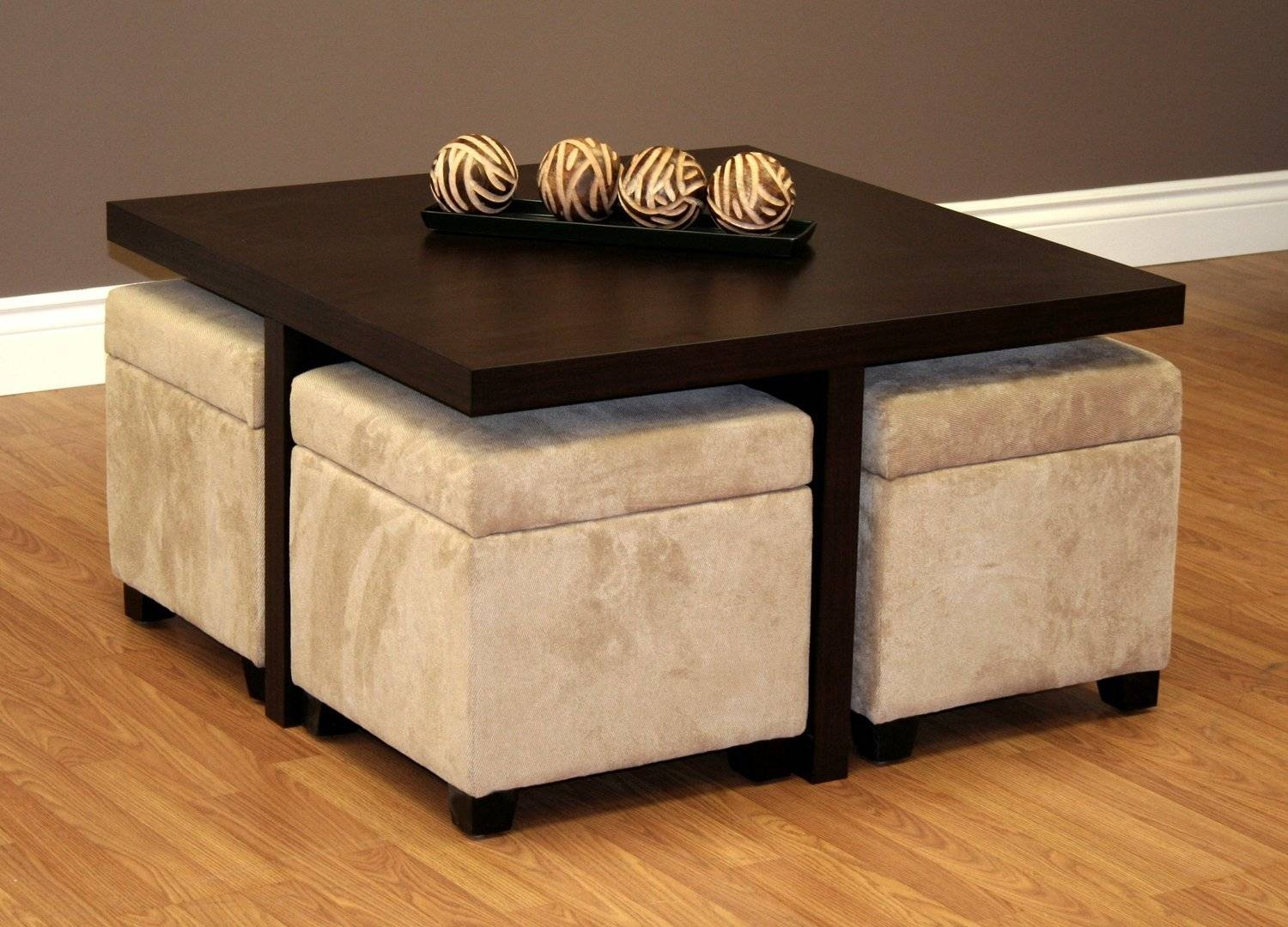 Crestfield Dark Brown Coffee Table Storage Ottoman Set | Coffee Intended  For Brown Leather Ottoman Coffee