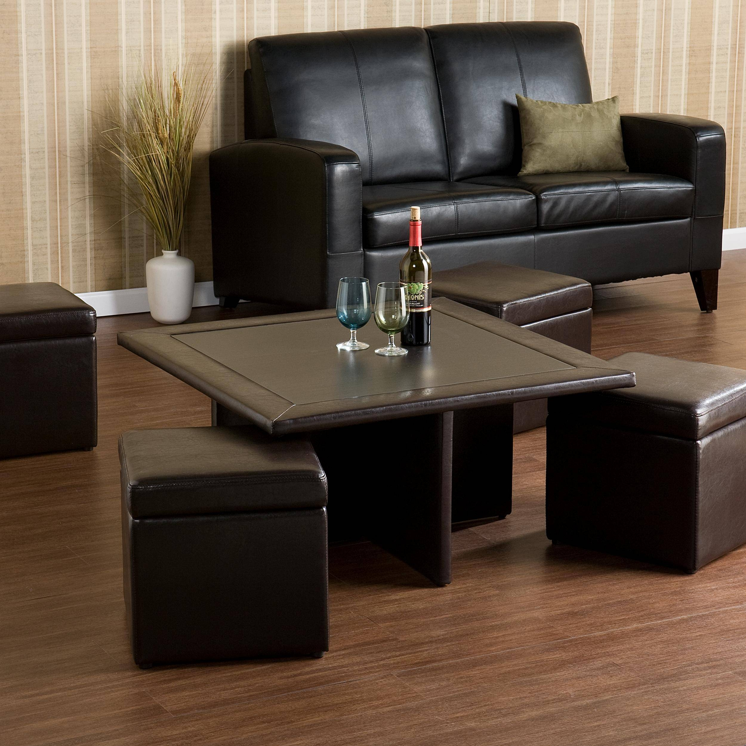 Crestfield Dark Brown Coffee Table Storage Ottoman Set | Coffee throughout Brown Leather Ottoman Coffee Tables With Storages (Image 19 of 30)
