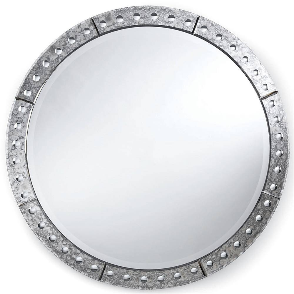 Crewe Hollywood Regency Antique Silver Round Mirror - 32 Inch regarding Vintage Silver Mirrors (Image 12 of 25)