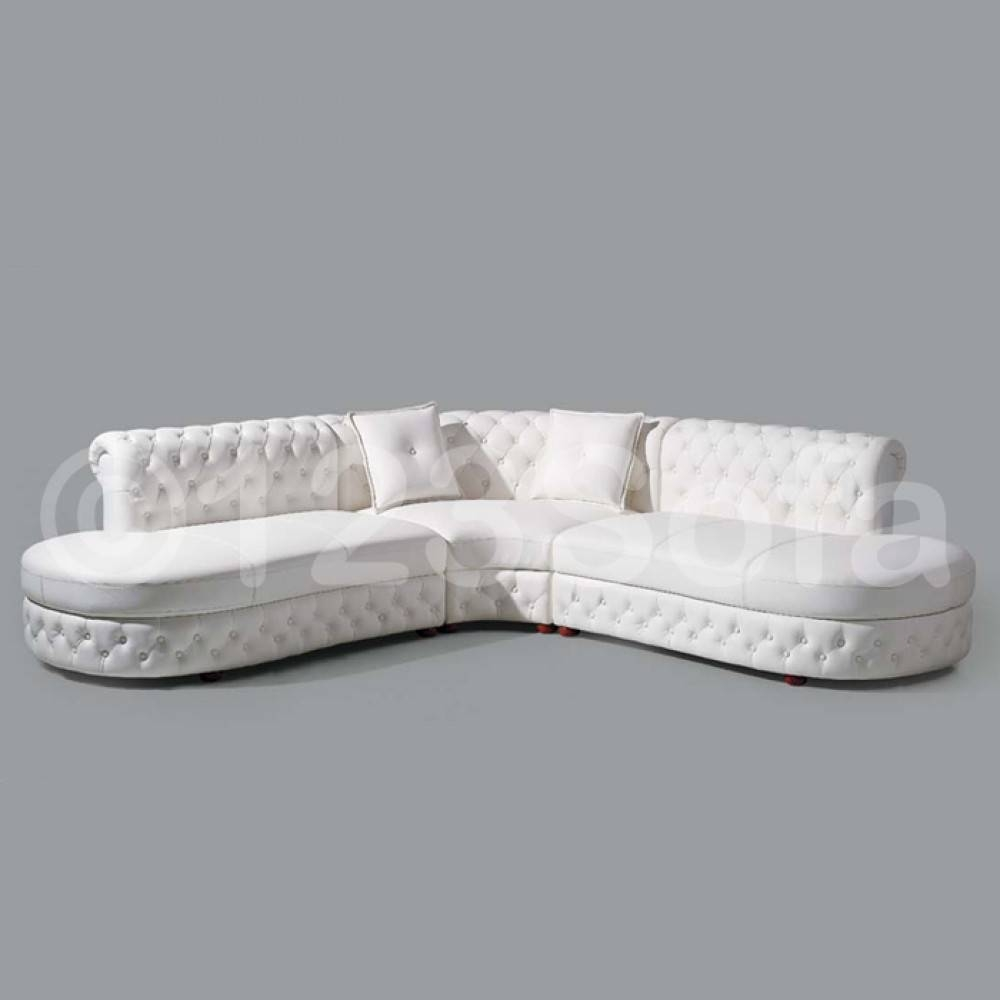 Cristo Leather Corner Sofa In White with White Leather Corner Sofa (Image 7 of 30)
