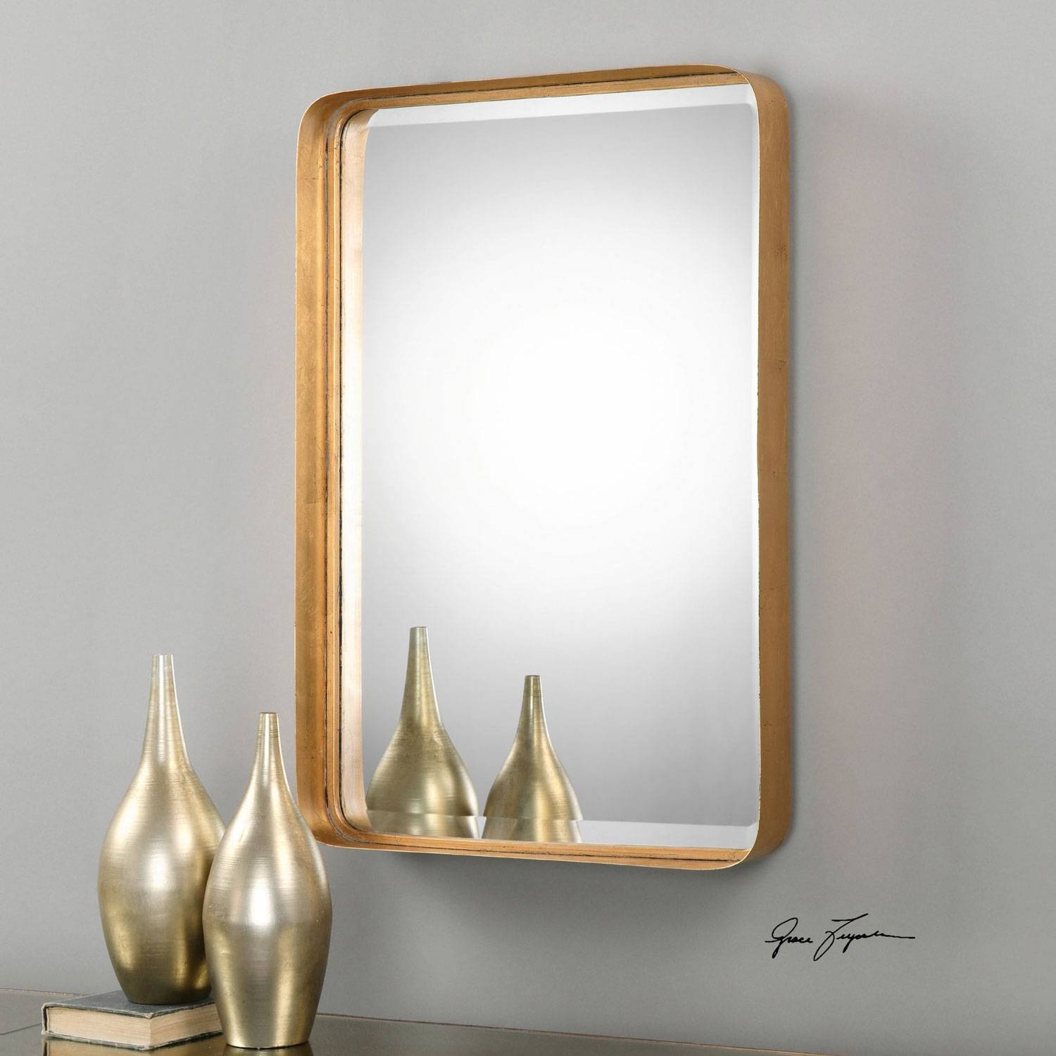 Crofton Antique Gold Mirror Uttermost Wall Mirror Mirrors Home Decor with Gold Antique Mirrors (Image 12 of 25)
