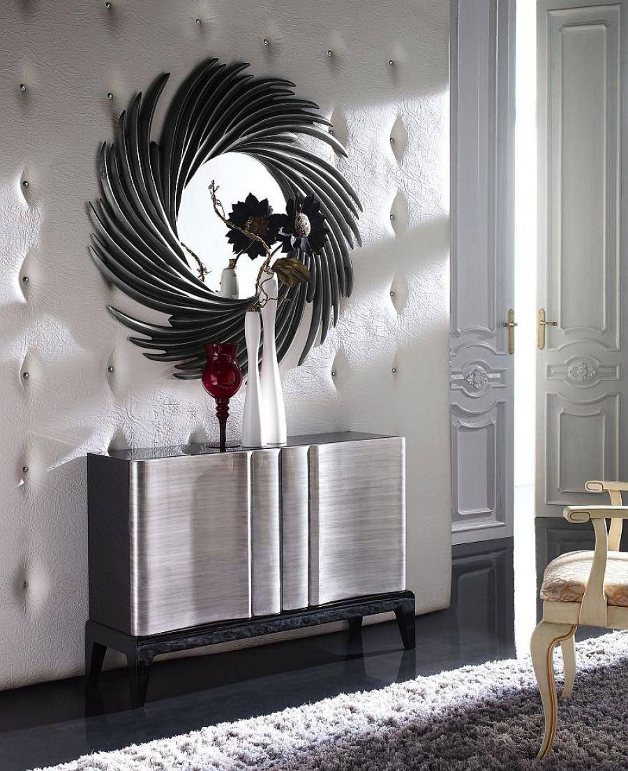 Cronos Contemporary Circular Mirror In Silver Or Black regarding Black and Silver Sideboards (Image 11 of 30)
