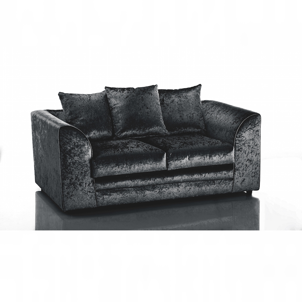Crushed Velvet Furniture | Sofas, Beds, Chairs, Cushions pertaining to Black Velvet Sofas (Image 7 of 30)