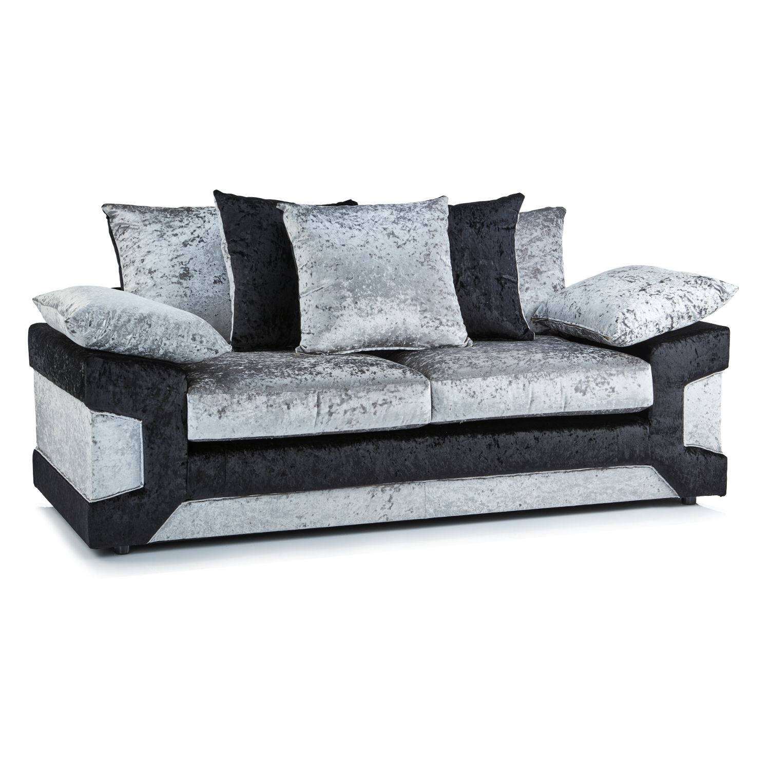 Crushed Velvet Furniture | Sofas, Beds, Chairs, Cushions regarding Black Velvet Sofas (Image 8 of 30)