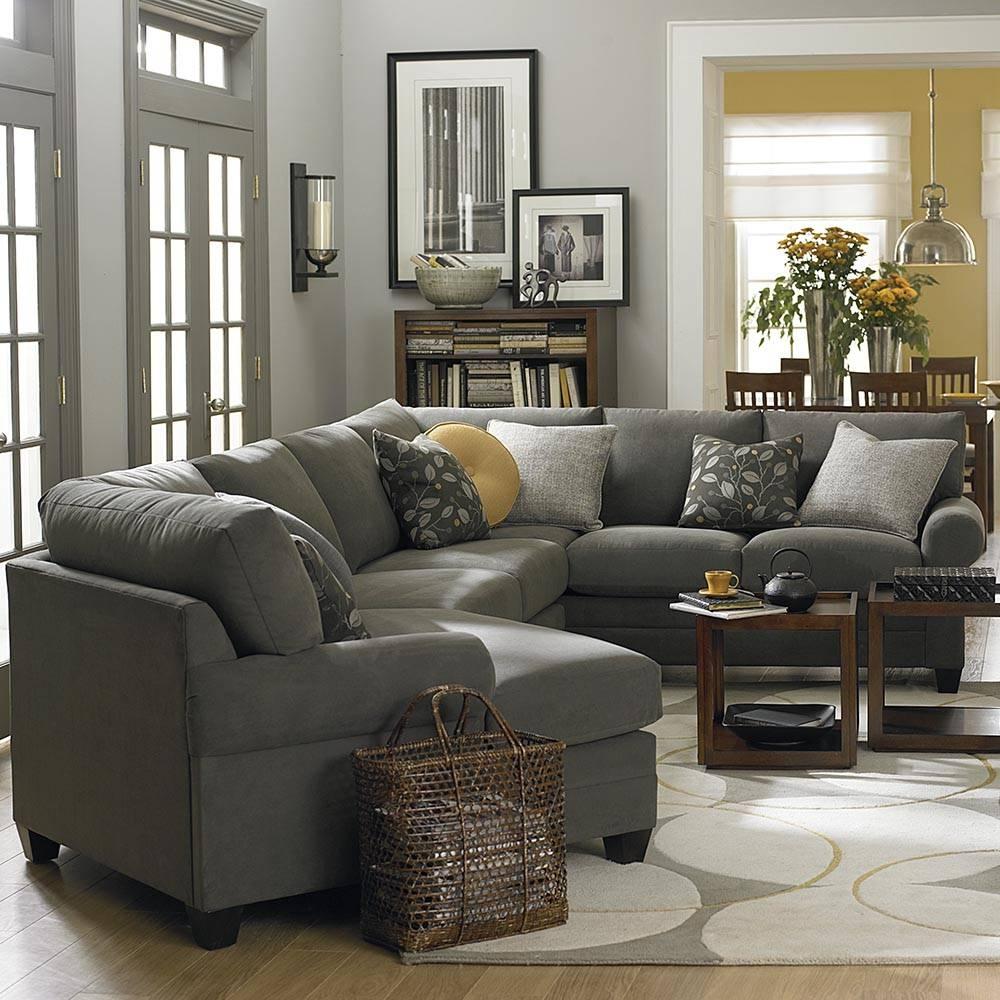Cu.2 Left Cuddler Sectional Sofa | Bassett Home Furnishings with Sectional Sofa With Cuddler Chaise (Image 5 of 25)