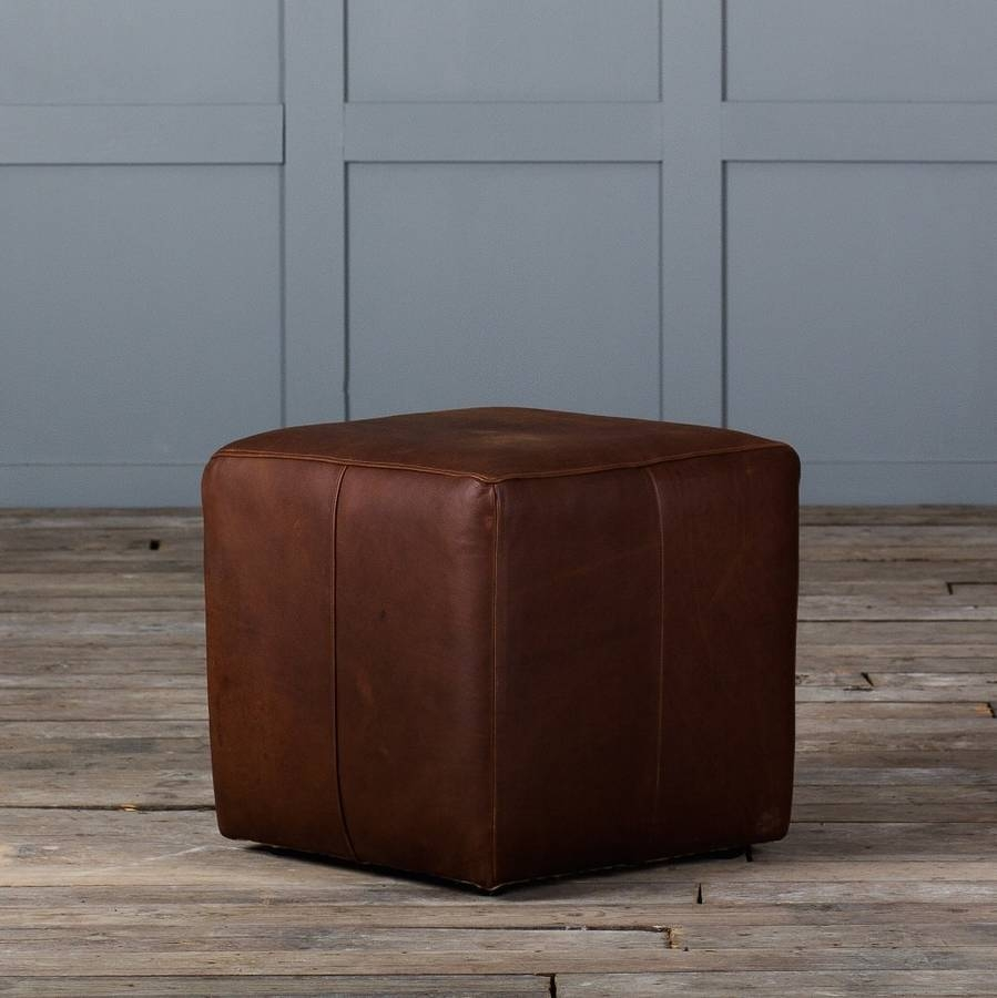 Cube Footstool In Leather Or Velvetauthentic Furniture for Leather Footstools (Image 5 of 30)