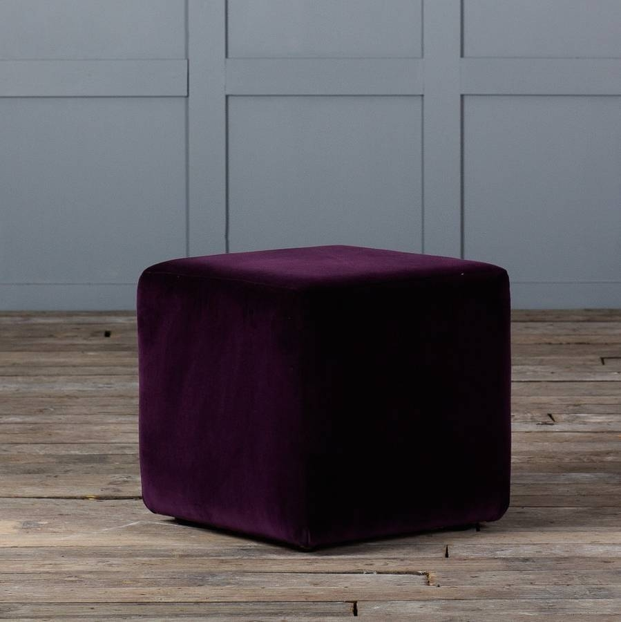 Cube Footstool In Leather Or Velvetauthentic Furniture intended for Velvet Footstool (Image 14 of 30)