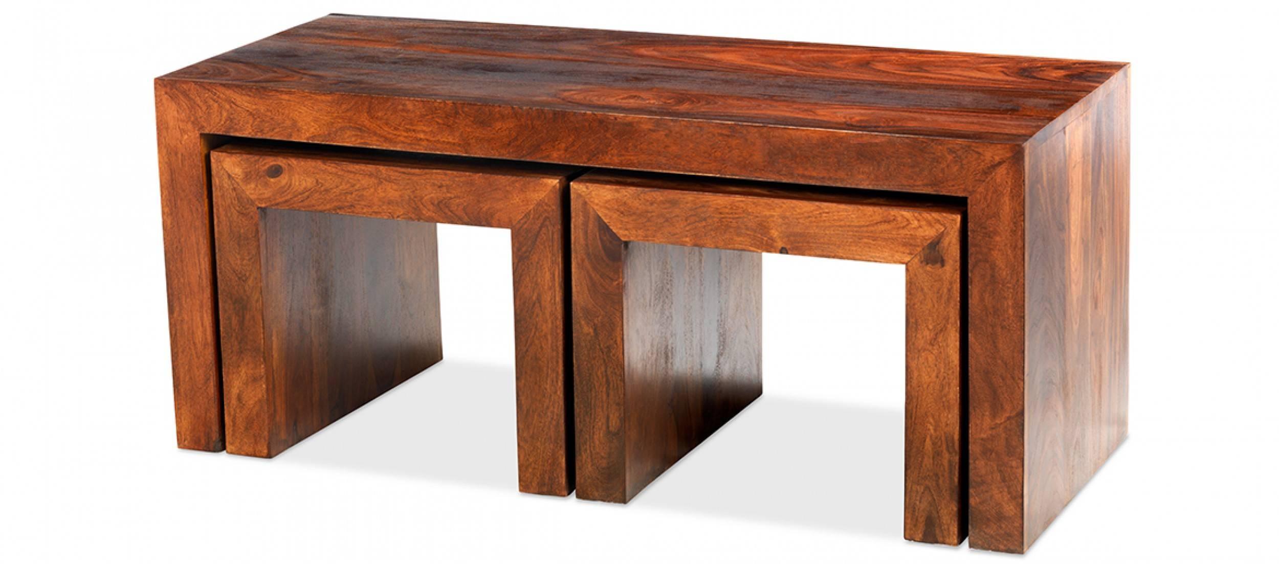 Cube Sheesham Long John Coffee Table | Quercus Living in Sheesham Coffee Tables (Image 5 of 30)