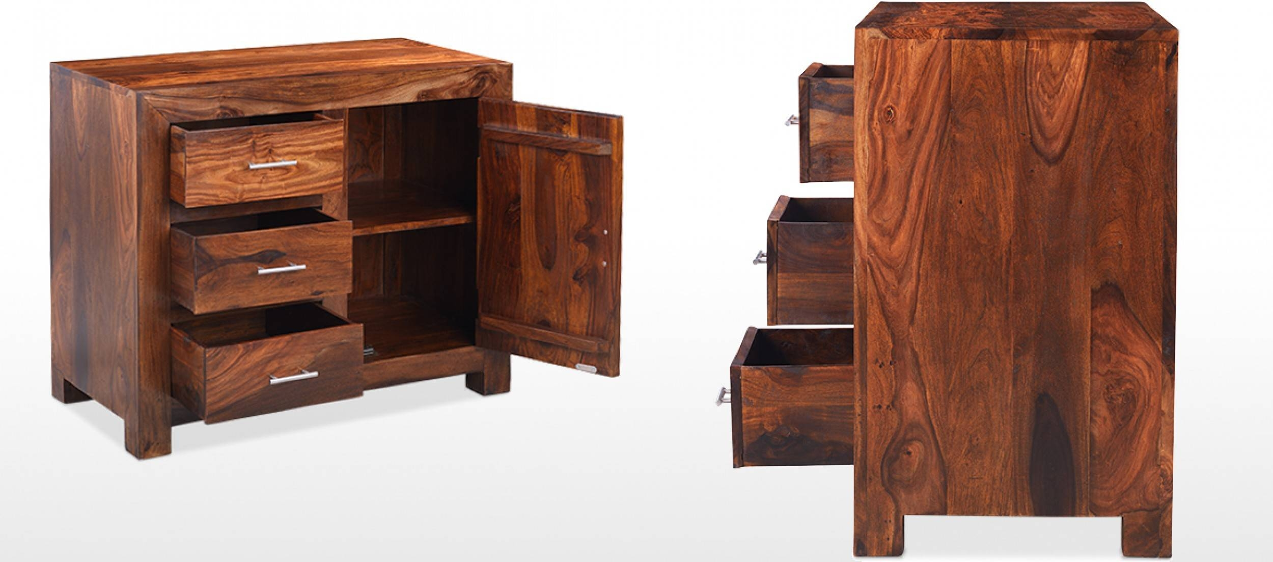 Cube Sheesham Small Sideboard | Quercus Living intended for Small Dark Wood Sideboards (Image 4 of 30)
