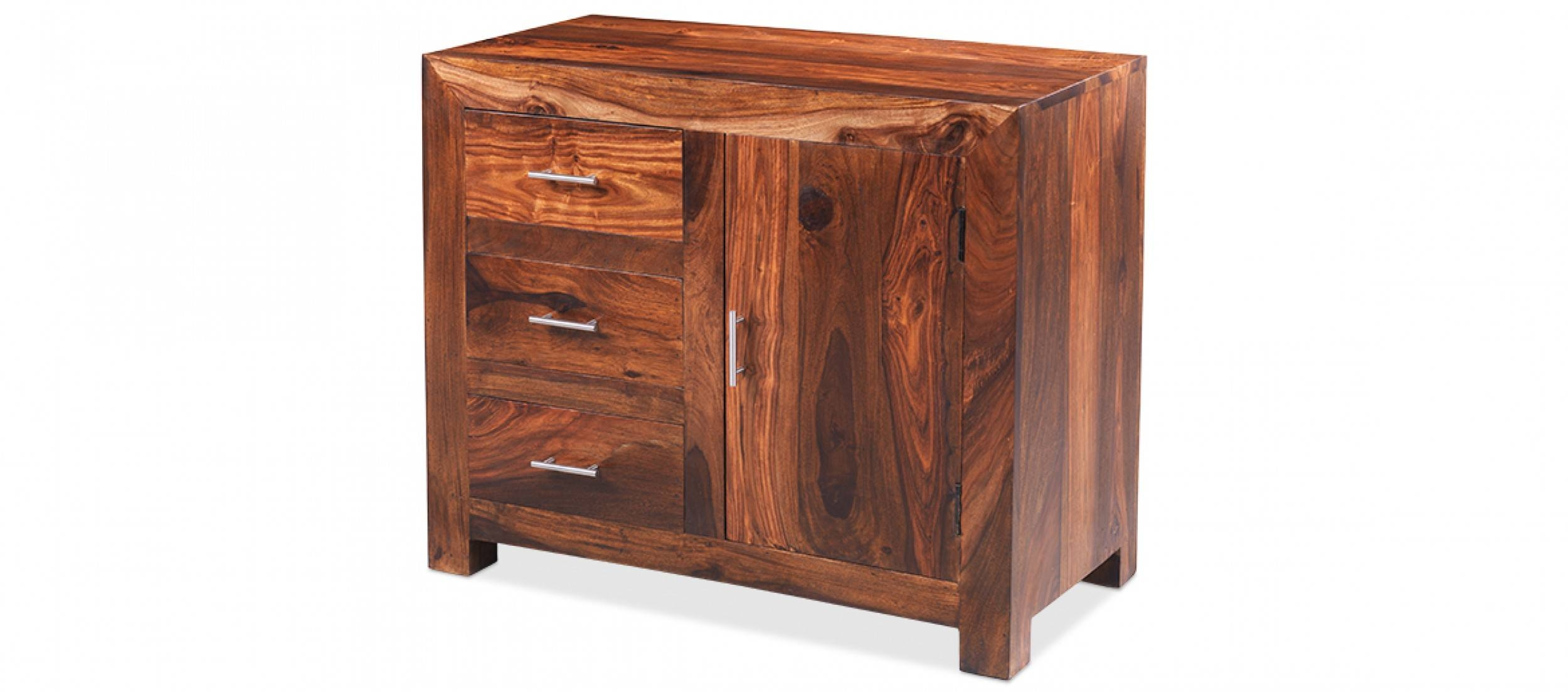 Cube Sheesham Small Sideboard | Quercus Living regarding Sheesham Sideboards (Image 6 of 30)