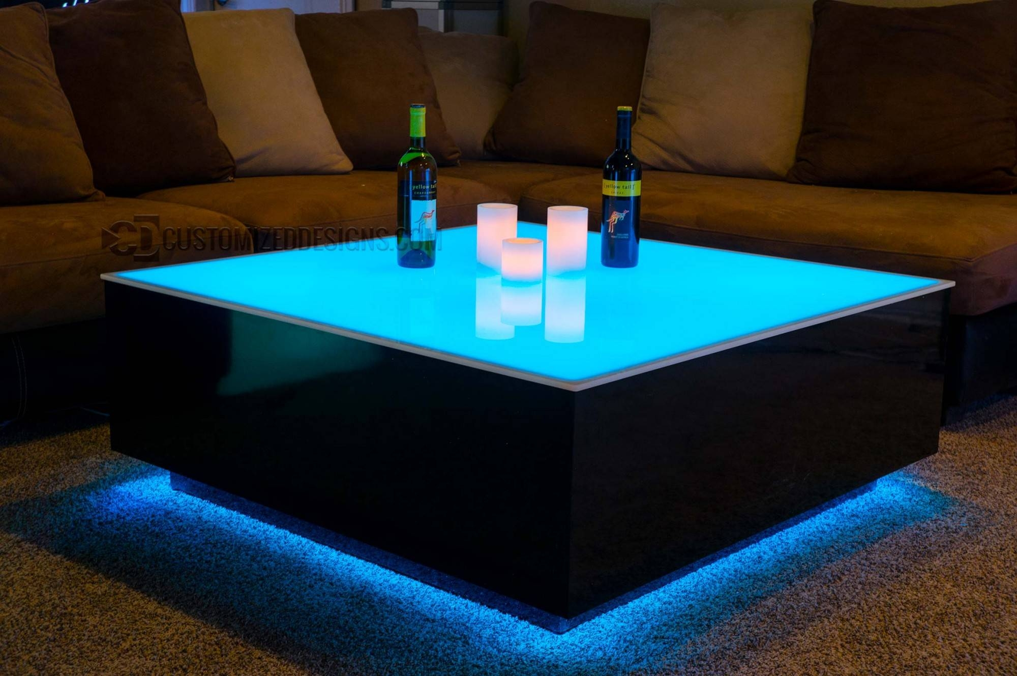 "Cubix Series - 44"" X 44"" Led Lighted Coffee Table 