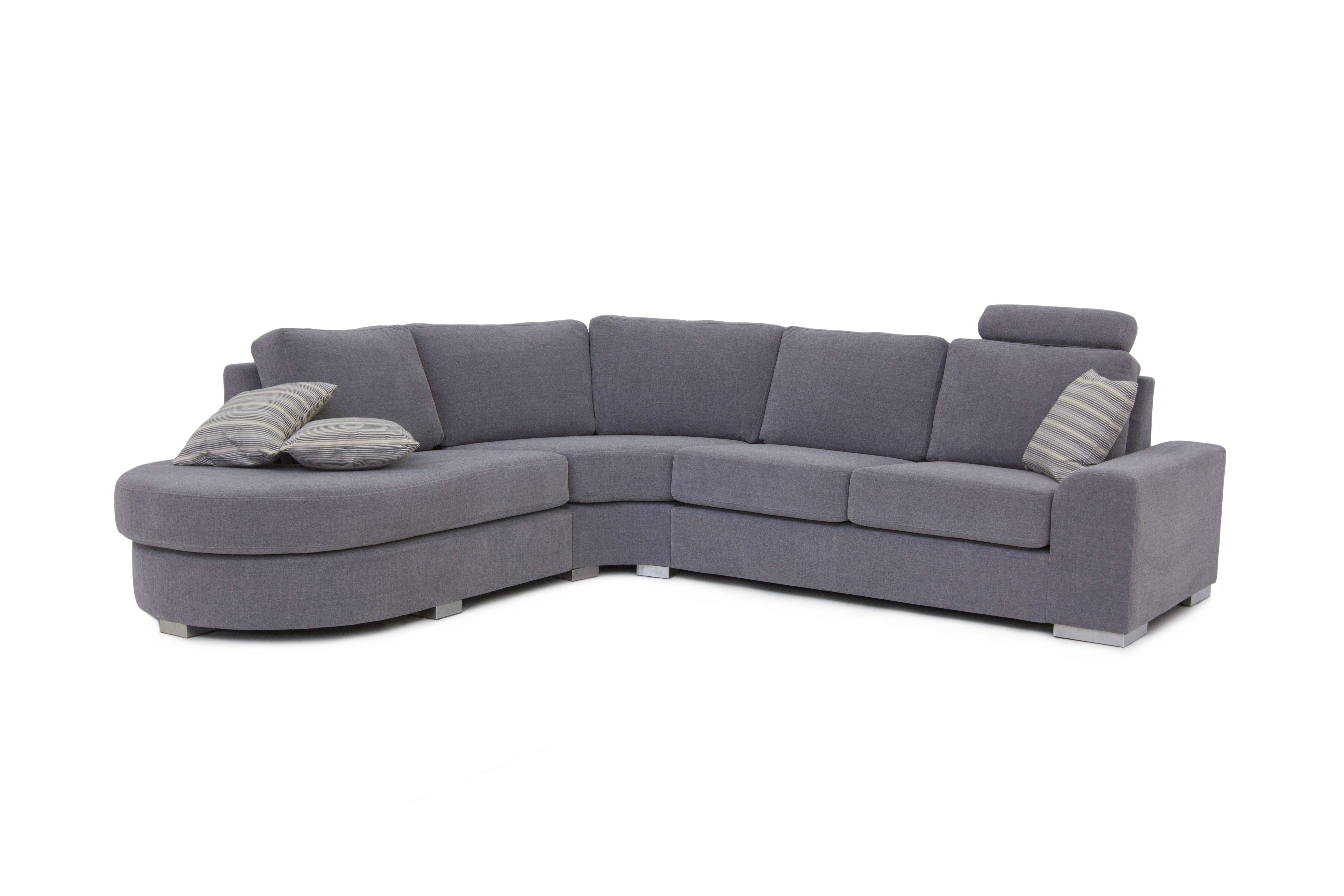 Curved Corner Sofa - Leather Sectional Sofa with regard to Rounded Sofa (Image 3 of 25)