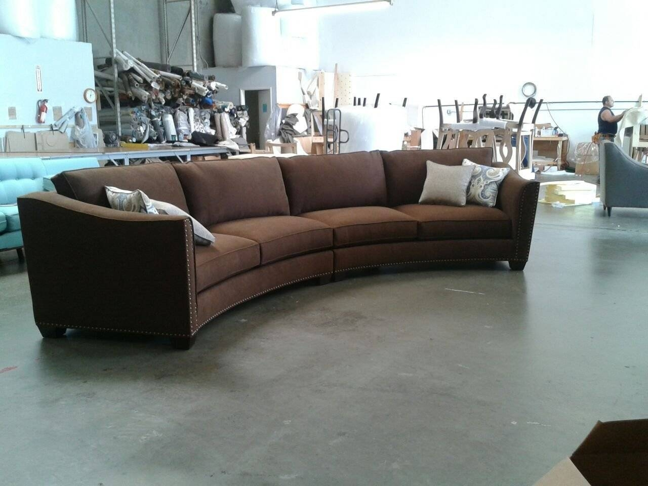 Curved Sectional Sofa Set - Rich Comfortable Upholstered Fabric for Contemporary Curved Sofas (Image 9 of 30)