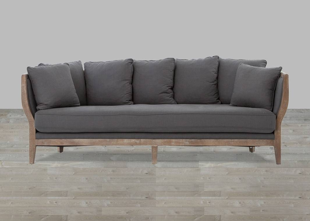 Cushion Sofa Gray Linen Whitewash Legs within One Cushion Sofas (Image 1 of 30)