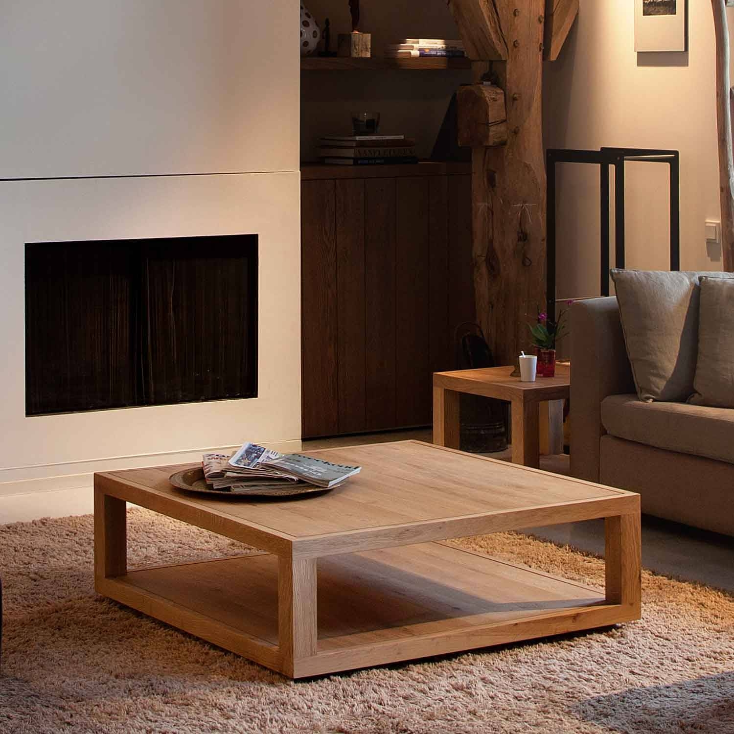 Custom Diy Low Square Wood Oak Coffee Table With Tray And throughout Coffee Tables With Magazine Storage (Image 12 of 30)