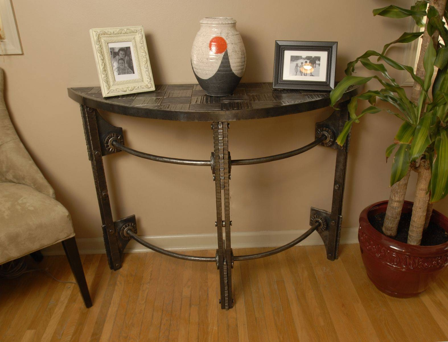 Custom Hand Forged Iron Half Round Console Tablearc Iron inside Half Circle Coffee Tables (Image 10 of 30)