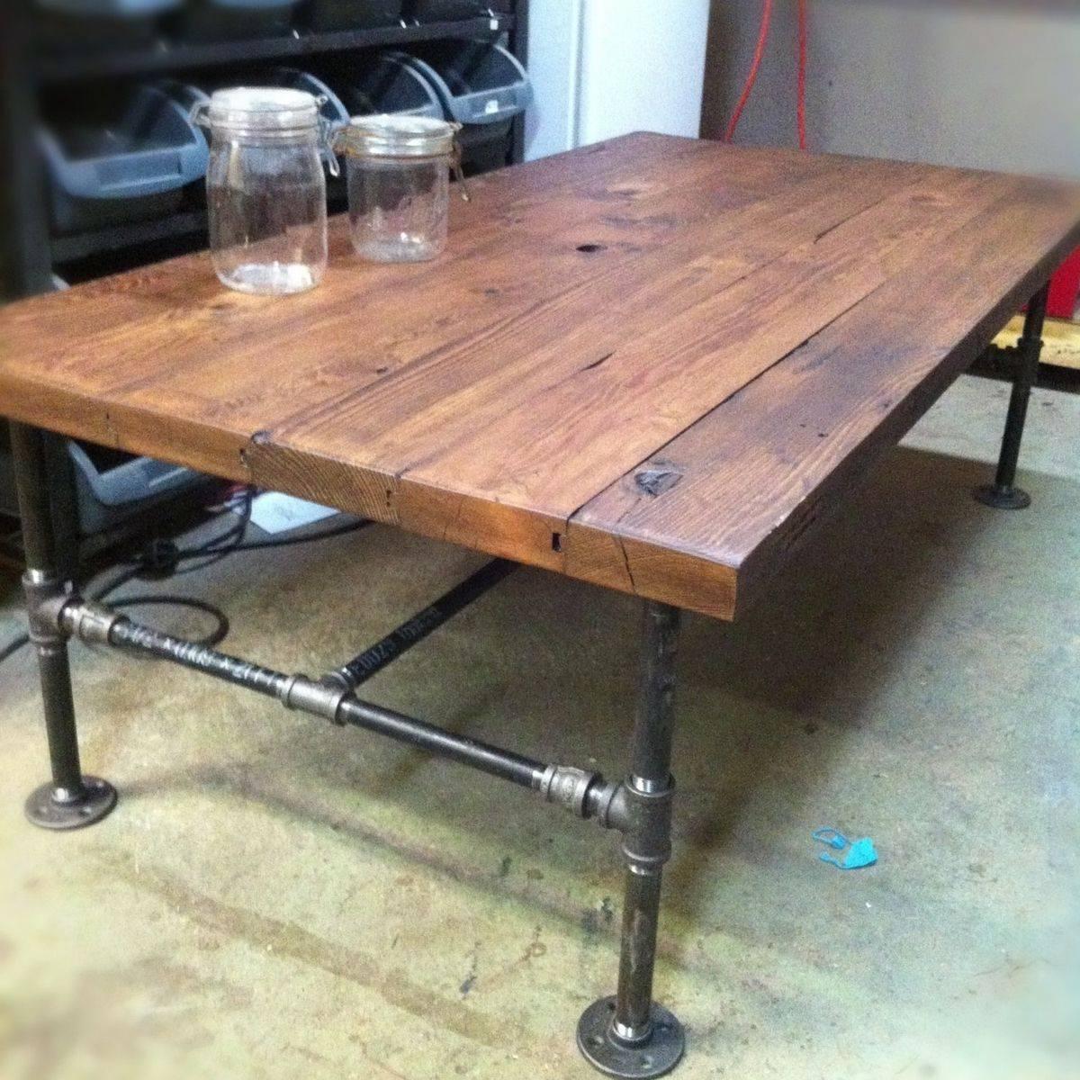 Custom Made Barn Wood Cast Iron Pipe Coffee Tablej&s Reclaimed in Rustic Barnwood Coffee Tables (Image 11 of 30)