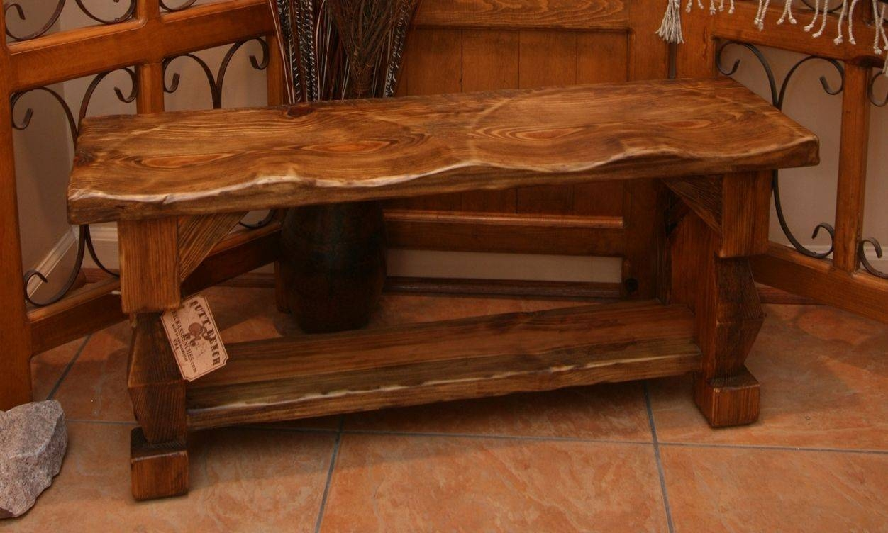 """Custom Made Hand Carved Rustic Style """"butt Bench""""moss Farm in Rustic Style Coffee Tables (Image 9 of 30)"""