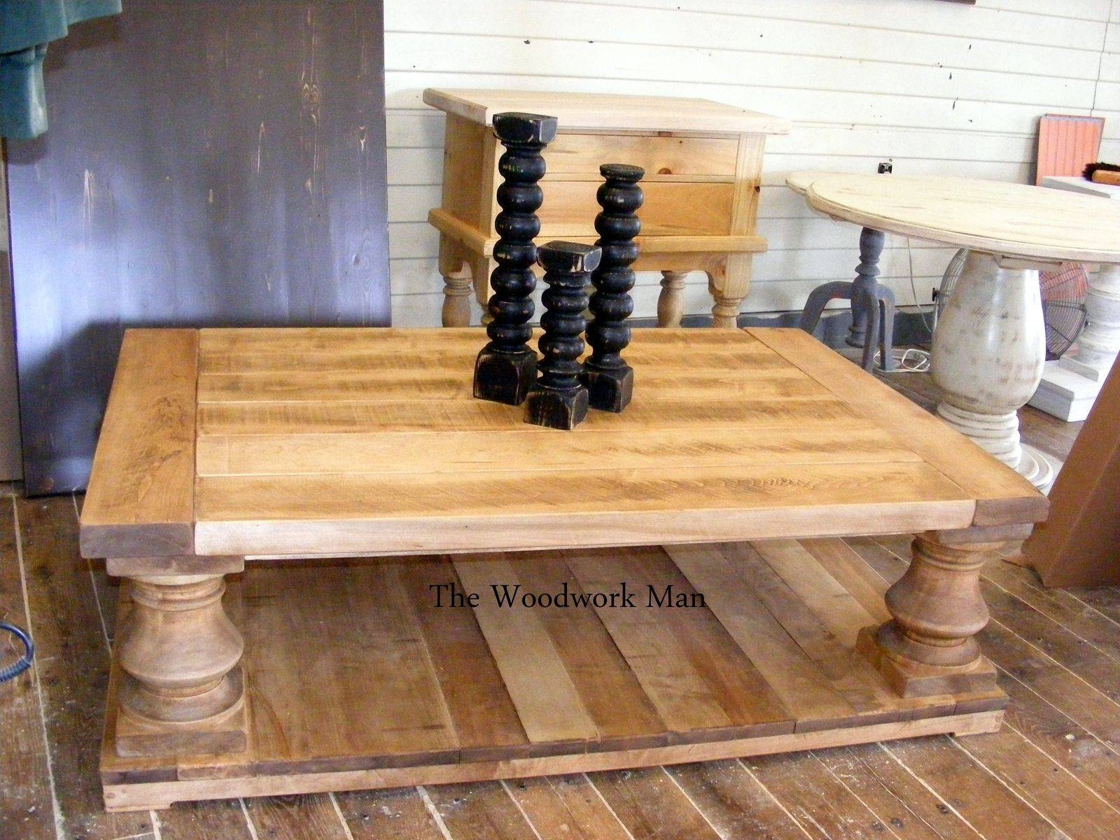 Custom Made Micah's Rustic Solid Maple Balustrade Coffee Table intended for Chunky Rustic Coffee Tables (Image 11 of 30)