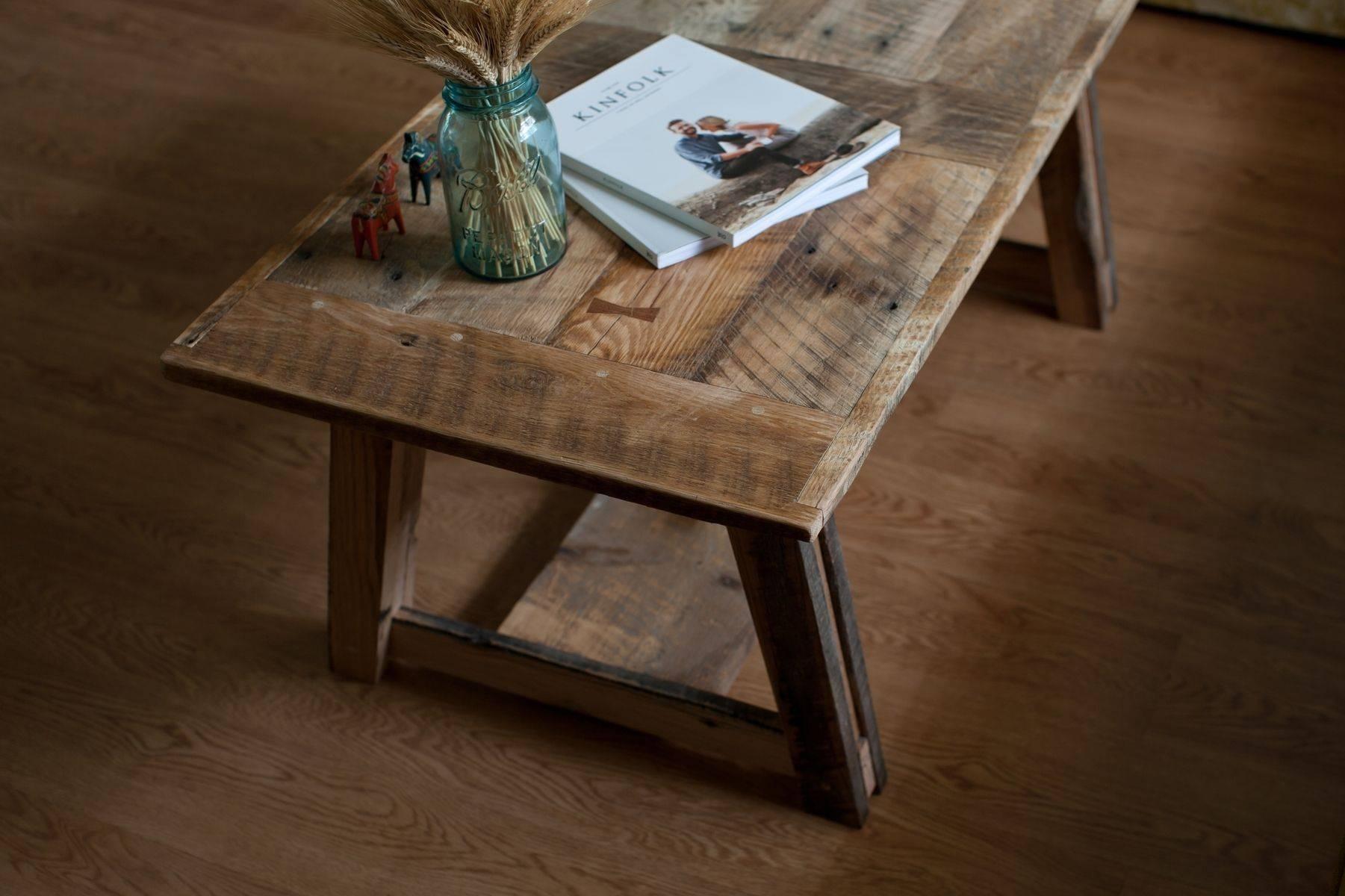 Custom Reclaimed Barn Wood Coffee Tablepine-Stock | Custommade within Rustic Barnwood Coffee Tables (Image 12 of 30)