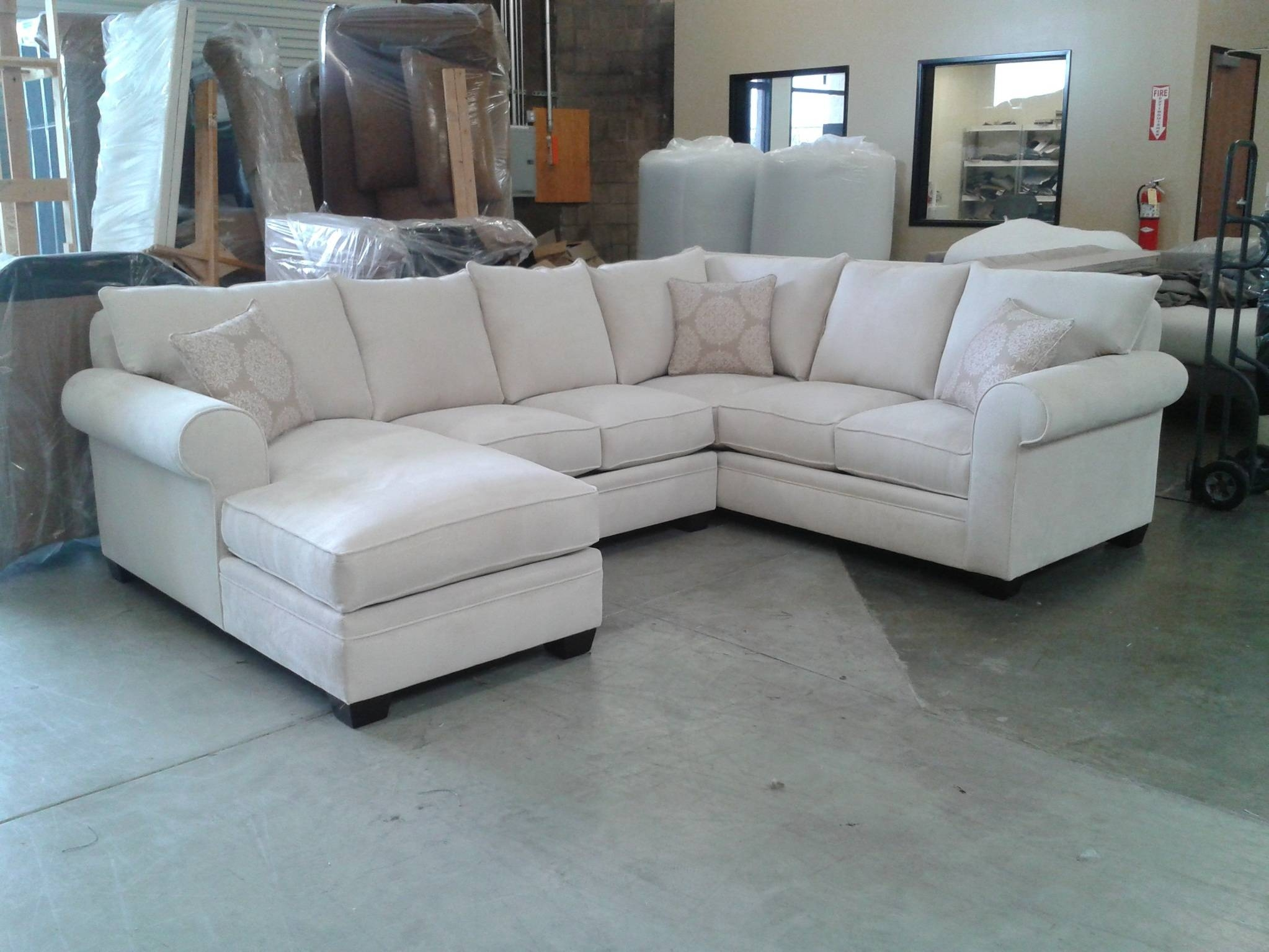 Custom Sectional Sofa | Chenille Sectional | U Shaped Sectional 8069 Inside Down  Sectional Sofa (