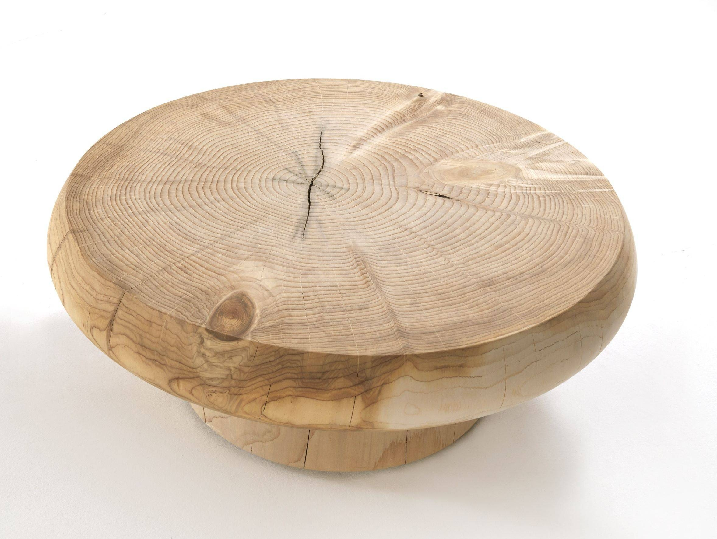 Custom Solid Wood Low Round Coffe Table With Base For Living Room within Low Square Wooden Coffee Tables (Image 12 of 30)