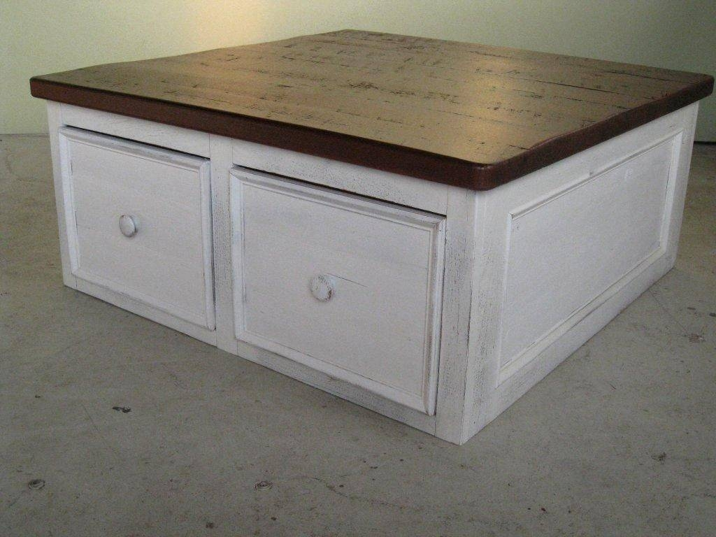 Custom White Coffee Table Floor Level With Large Drawers in Square Coffee Tables With Drawers (Image 11 of 30)