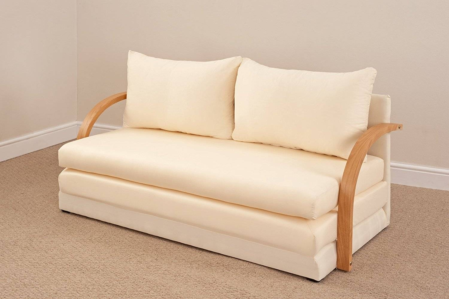 Cute Natural Beige Fold Out Double Foam Sofa Bed Most Comfortable with Most Comfortable Sofabed (Image 11 of 30)
