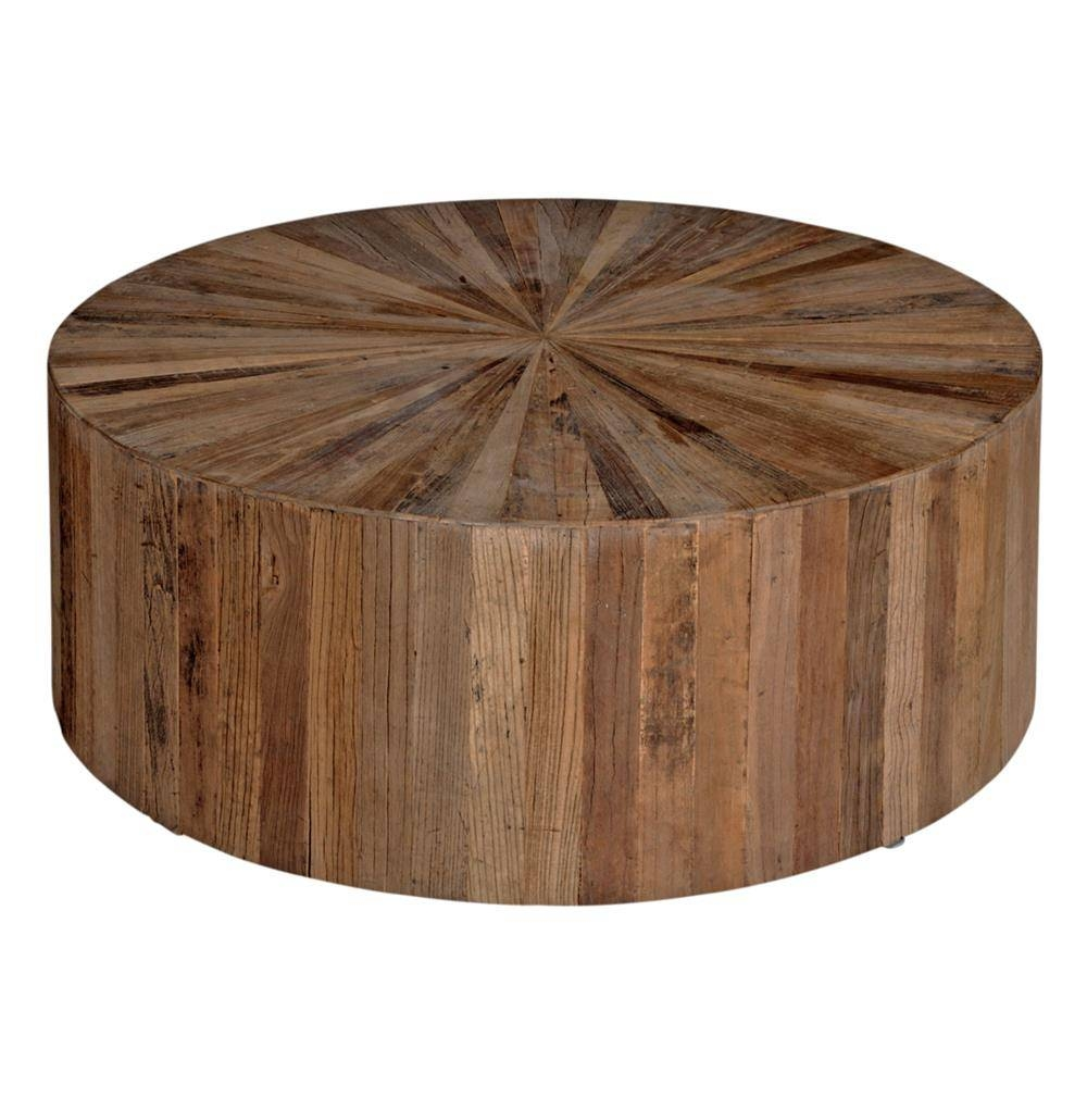 Cyrano Reclaimed Wood Round Drum Modern Eco Coffee Table | Kathy In Circular Coffee Tables (View 16 of 30)