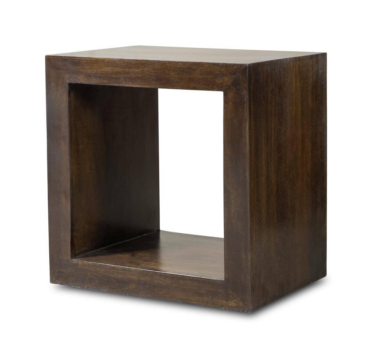 Dakota Dark Mango Cube Side Table | Casa Bella Furniture Uk throughout Dark Mango Coffee Tables (Image 9 of 30)