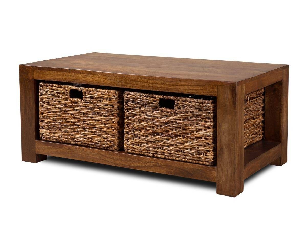 Dakota Mango Large Coffee Table With Baskets | Casa Bella Furniture Uk with regard to Mango Coffee Tables (Image 8 of 30)