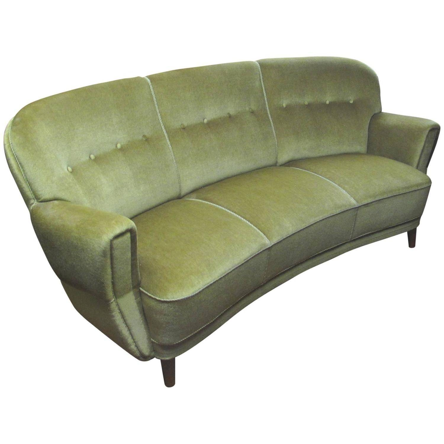 Danish 1930S-1940S Curved Mohair Upholstered Sofa At 1Stdibs intended for 1930S Couch (Image 15 of 30)
