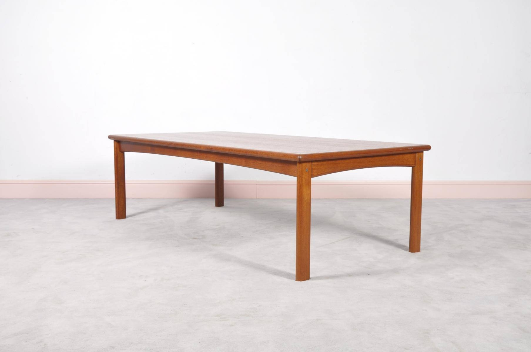 Danish Long Teak Coffee Table, 1960S For Sale At Pamono in Long Coffee Tables (Image 5 of 15)