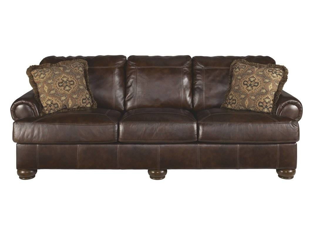 Darby Home Co Bannister Leather Sofa & Reviews | Wayfair inside Chintz Sofa Beds (Image 11 of 30)