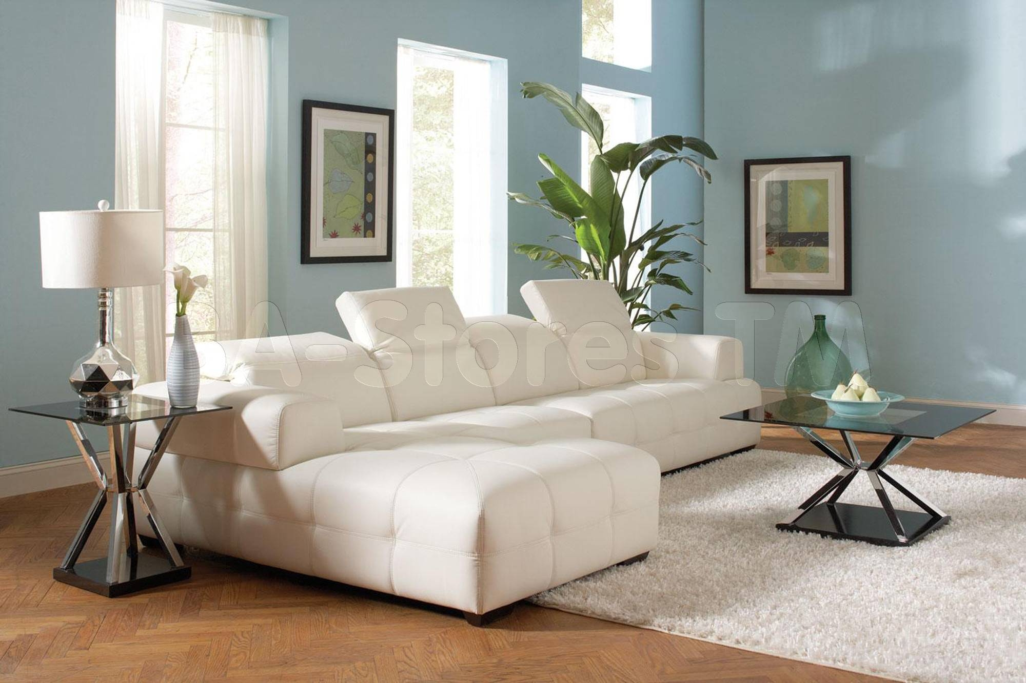 Darby White Sectional Sofa & Armless Chair | Sectional Sofas Coa intended for Armless Sectional Sofa (Image 12 of 30)