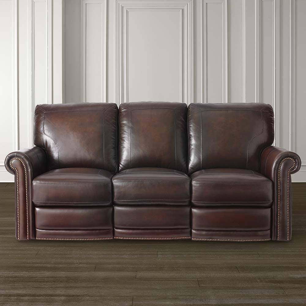 Dark Brown Leather Motion Sofa | Bassett Home Furnishings pertaining to Leather Motion Sectional Sofa (Image 8 of 25)