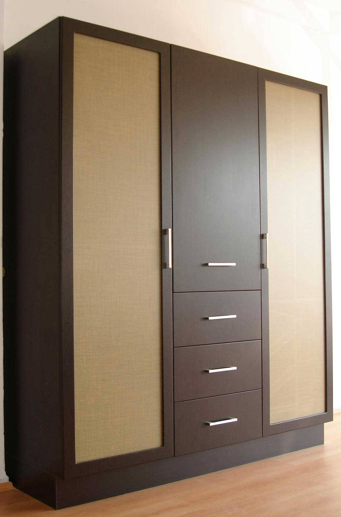 Dark Brown Stained Wooden Wardrobe With Door Panel Also Having regarding Dark Wood Wardrobe With Drawers (Image 10 of 30)