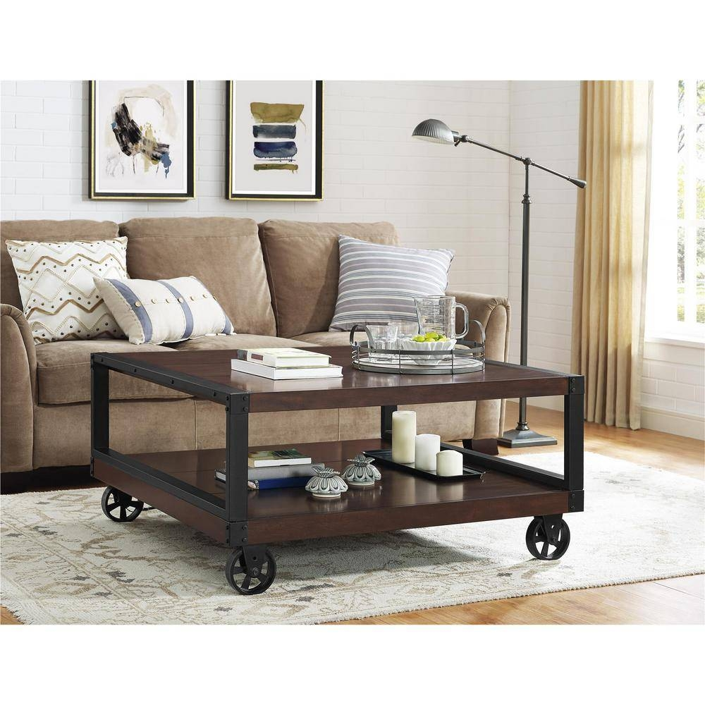 Dark Brown Wood - Rustic - Coffee Table - Accent Tables - Living with regard to Dark Brown Coffee Tables (Image 17 of 30)