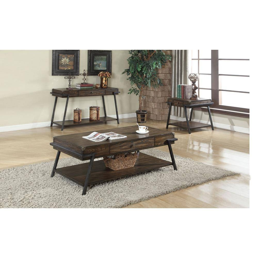 Dark Brown Wood - Rustic - Coffee Table - Accent Tables - Living with regard to Dark Brown Coffee Tables (Image 16 of 30)