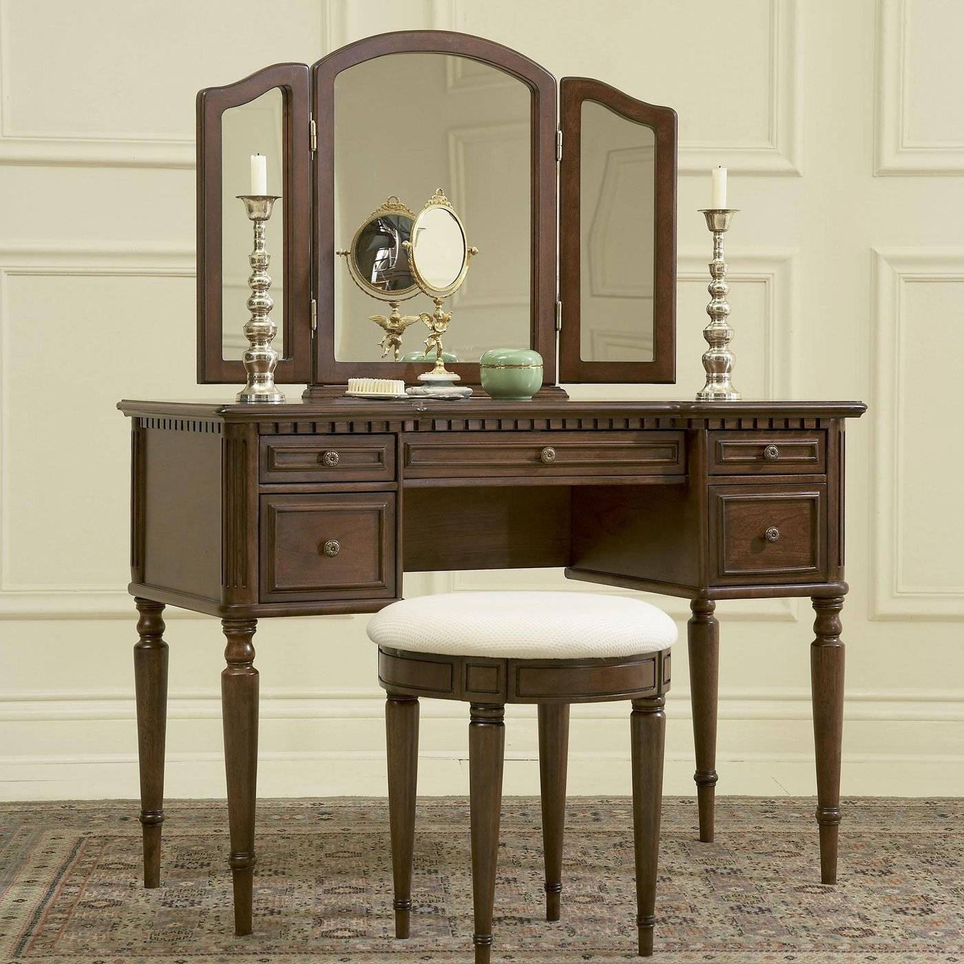 Dark Brown Wooden Makeup Vanity With Drawers And Long Legs throughout Long Brown Mirrors (Image 11 of 25)