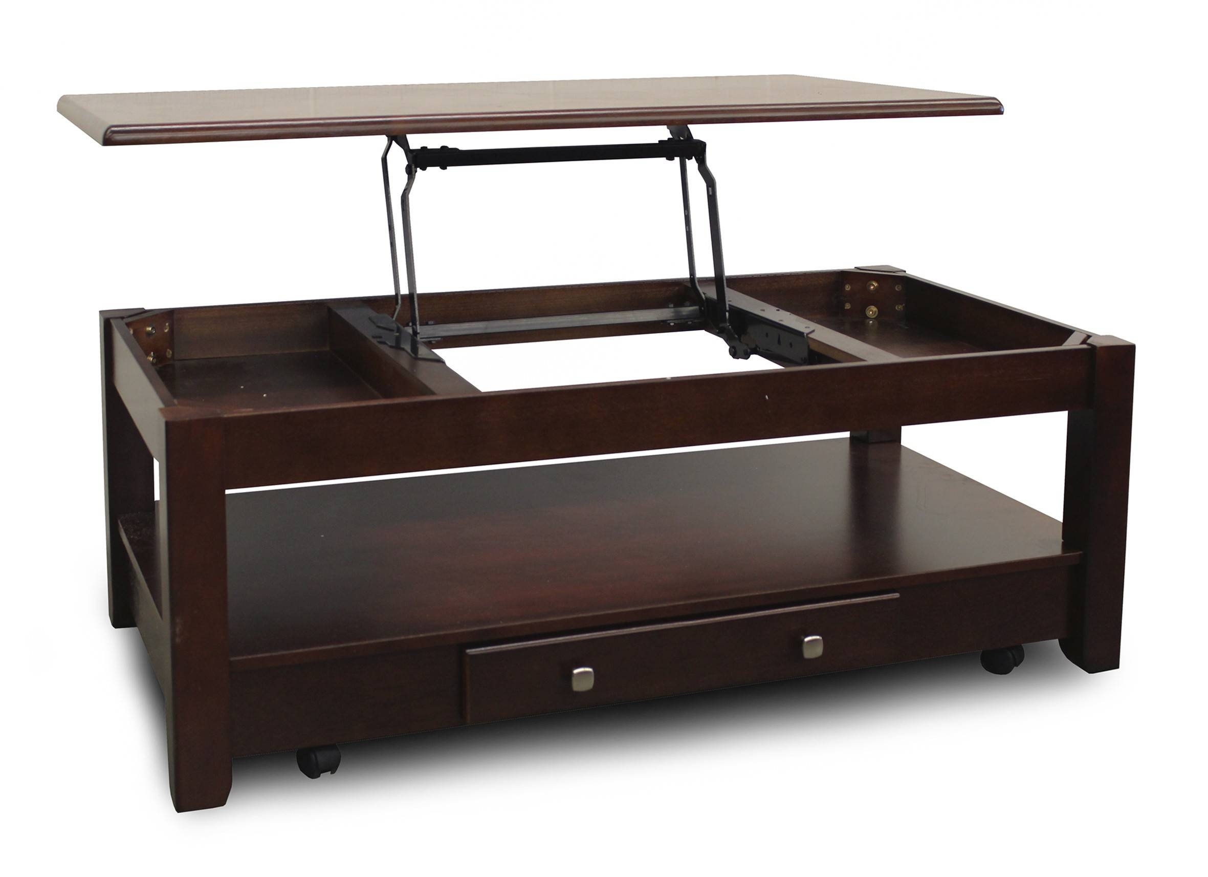 Dark Brown Wooden Table With Single Drawer On The Bottom Plus in Coffee Tables With Shelves (Image 14 of 30)