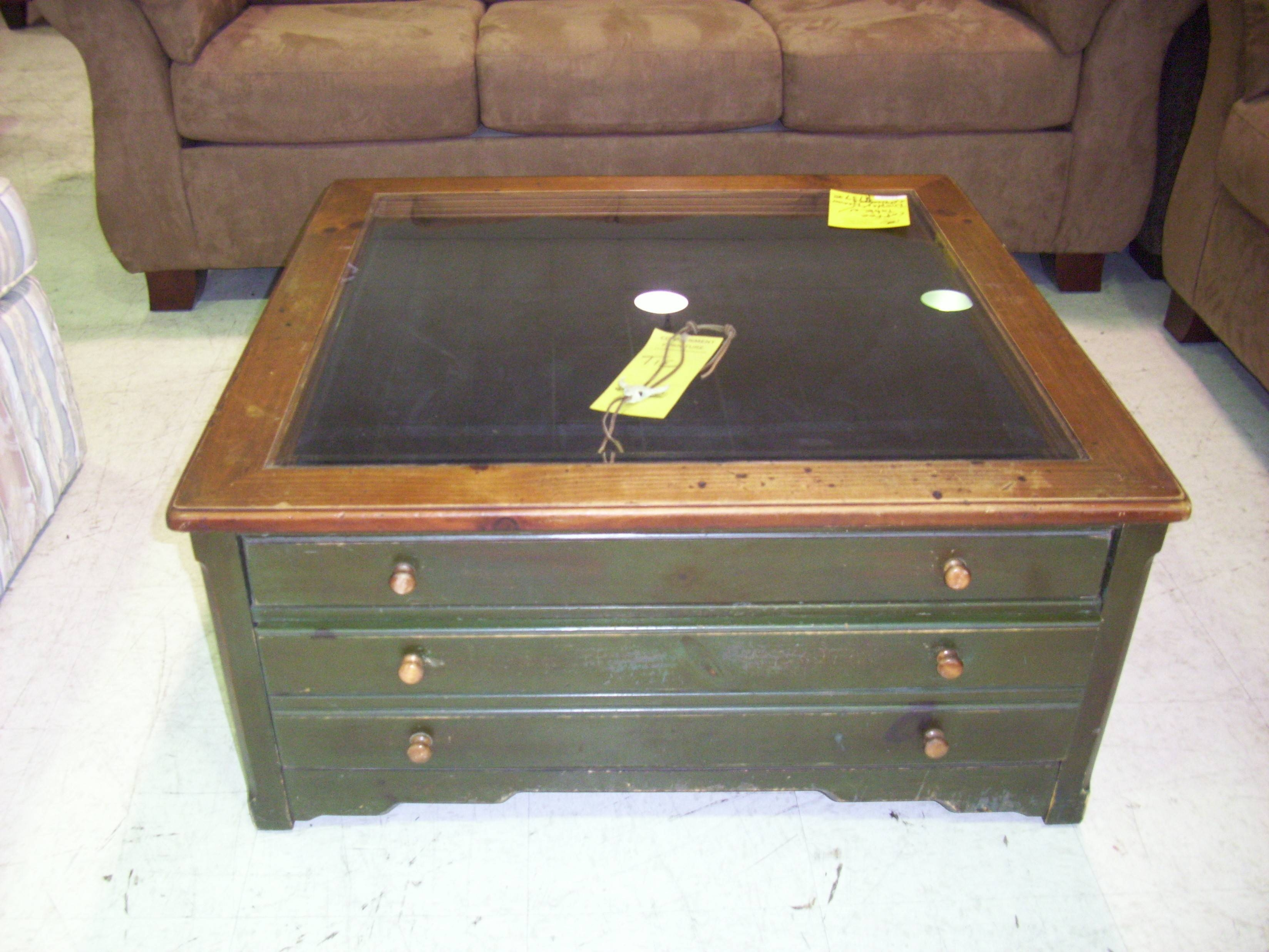 Great Dark Gray Wooden Table With Three Drawers Plus Square Glass Within Glass  Top Display Coffee Tables