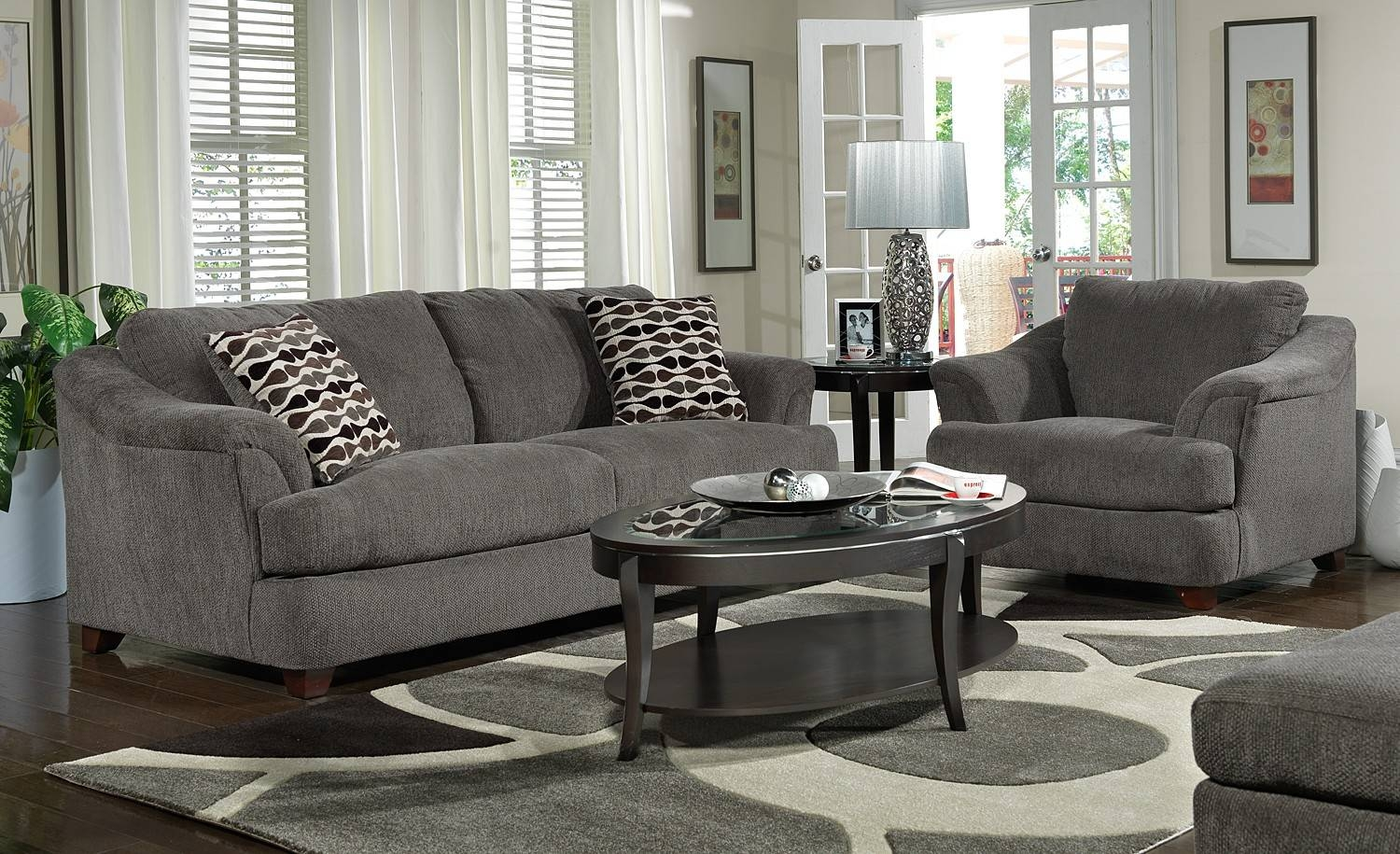 Dark Grey Living Room Furniture With Gray Sofa And Wooden Gray throughout Grey Sofa Chairs (Image 10 of 30)