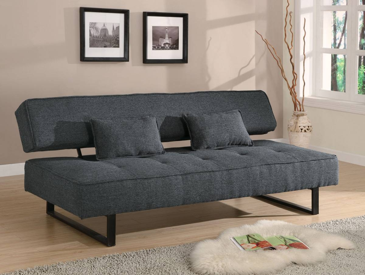Dark Grey Tweed-Like Fabric Sofa Bed Futon - Caravana Furniture in Tweed Fabric Sofas (Image 9 of 30)