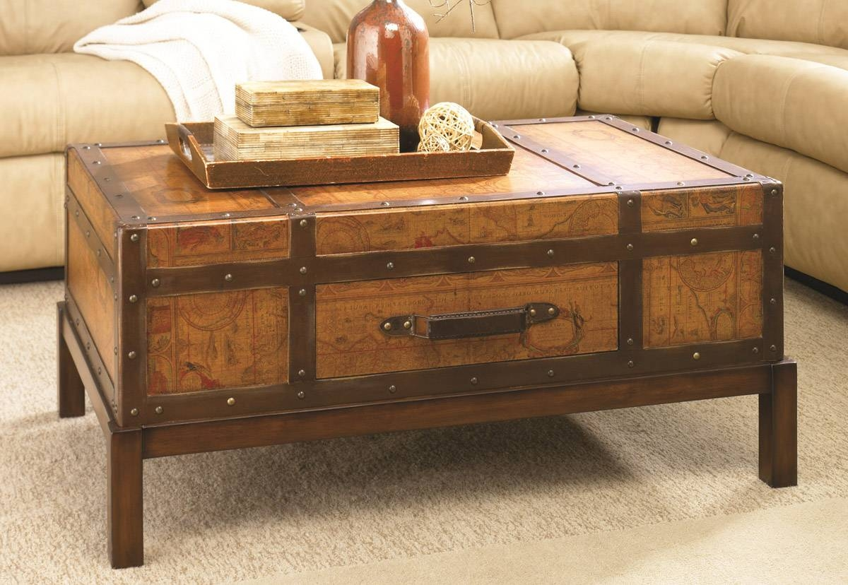 Dark Wood Chest Coffee Table Modern Coffee Tables Vintage Trunk intended for Dark Wood Chest Coffee Tables (Image 12 of 30)