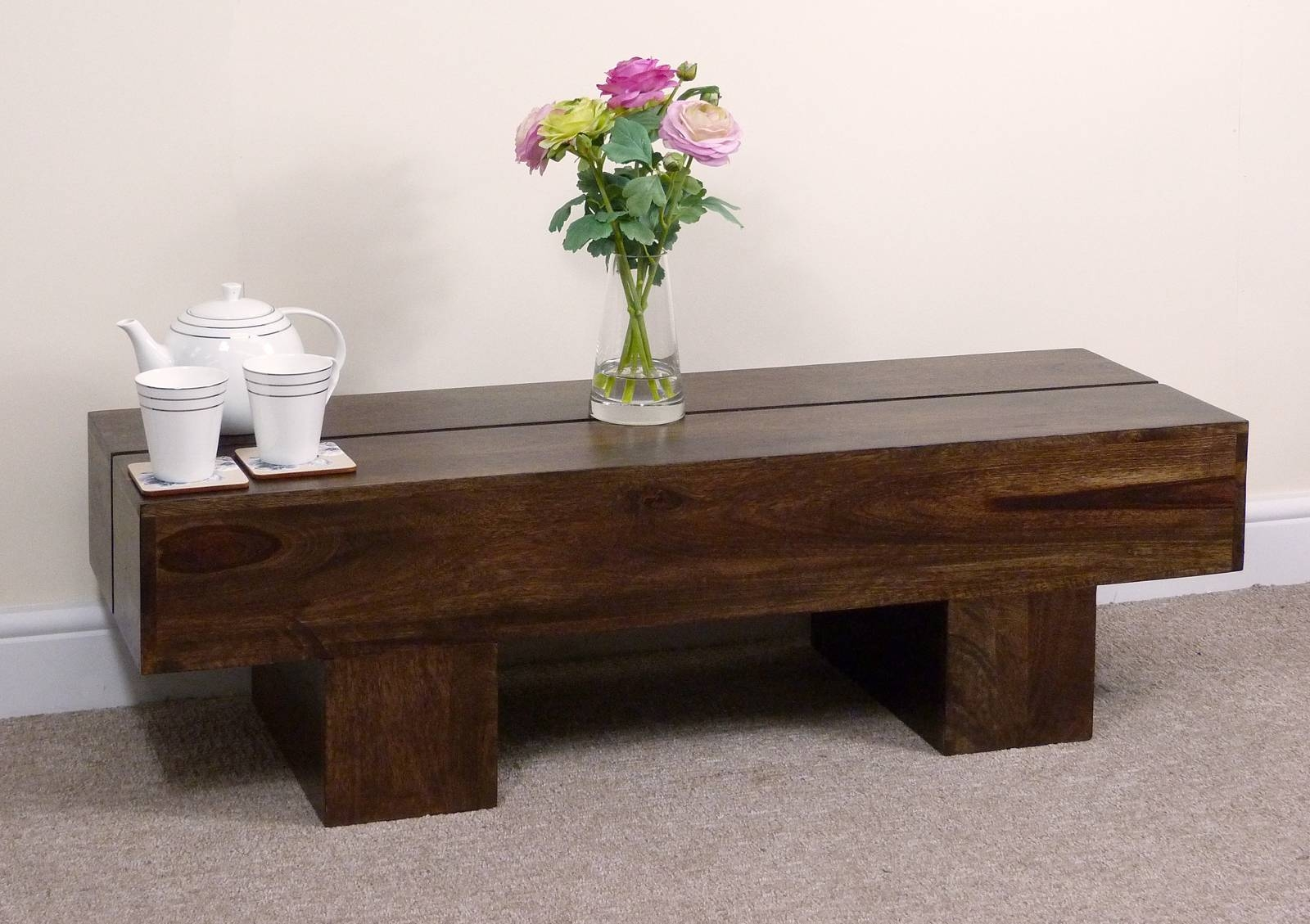 Dark Wood Coffee Table Design – Dark Brown Rustic Coffee Table for Dark Wooden Coffee Tables (Image 13 of 30)