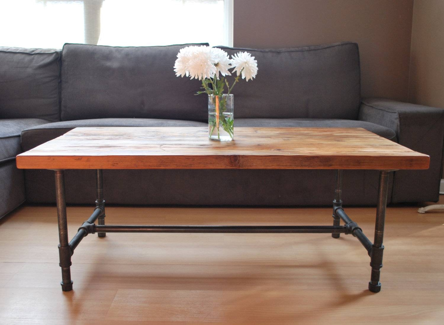 Dark Wood Coffee Table With Metal Legs | Coffee Tables Decoration throughout Dark Wooden Coffee Tables (Image 19 of 30)