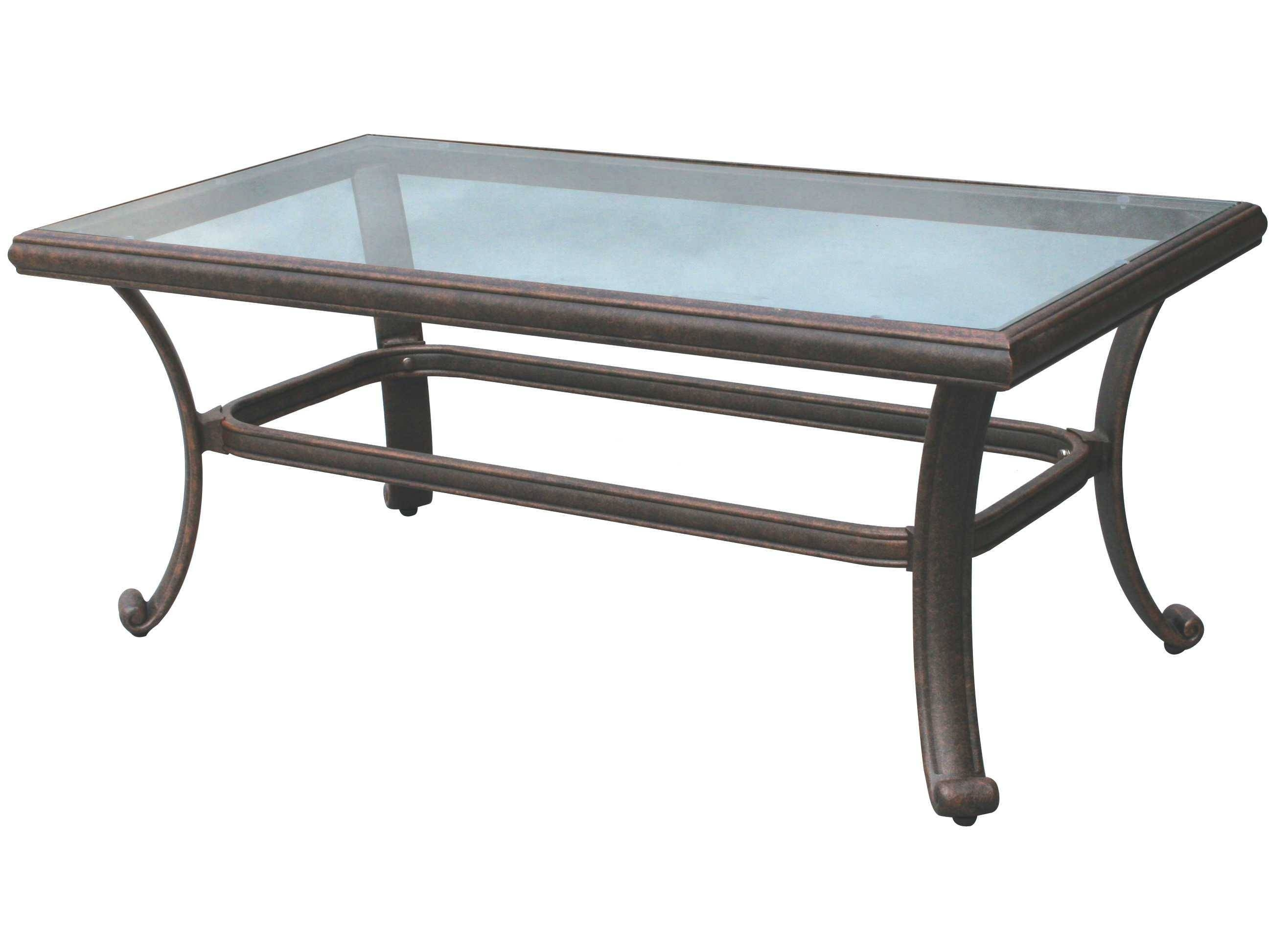 Darlee Outdoor Living Glass Top Cast Aluminum Antique Bronze 42 X with Antique Glass Top Coffee Tables (Image 15 of 30)