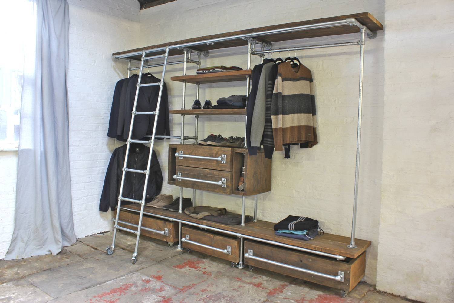 Davis Oak Stained Reclaimed Scaffolding Board And Galvanised regarding Industrial Style Wardrobes (Image 4 of 15)